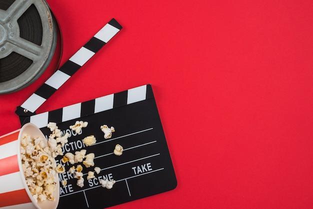 Composição plana leiga de objetos de cinema