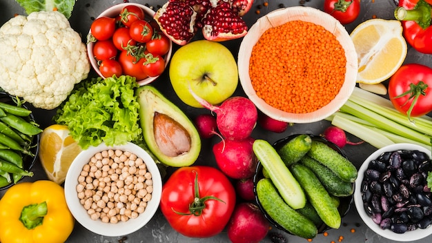 Composição plana leiga de vegetais saudáveis