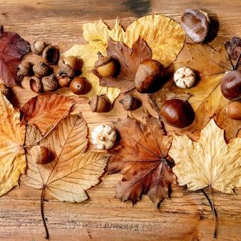 Composição sazonal de outono outono com folhas de bordo amarelas, bagas de rowan, castanhas e abóboras decorativas sobre fundo de textura de madeira. camada plana, imagem quadrada