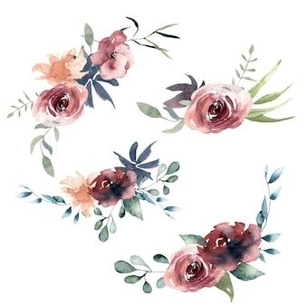 Composições de aquarela de borgonha