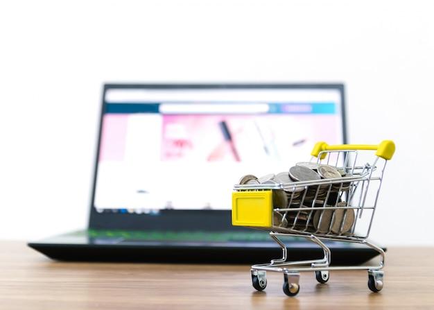 Compra de carrinho de compras on-line de conveniência de comércio eletrônico