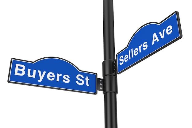 Compradores street e vendedores avenue street signs em um fundo branco. renderização 3d