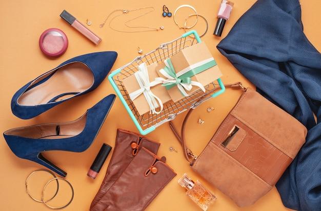 Compras, blog de moda, venda, conceito de idéias de presente.