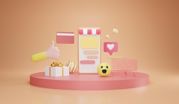 Compras no smartphone. loja online, transação online via smartphone, ilustração 3d