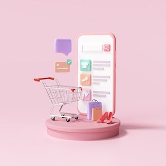 Compras on-line 3d em serviço de aplicativo para smartphone