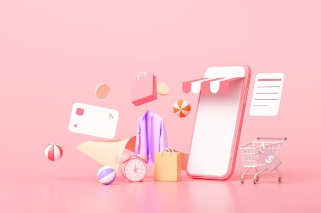 Compras on-line 3d no conceito de smartphone, itens de compras flutuantes, compras online e pagamento online