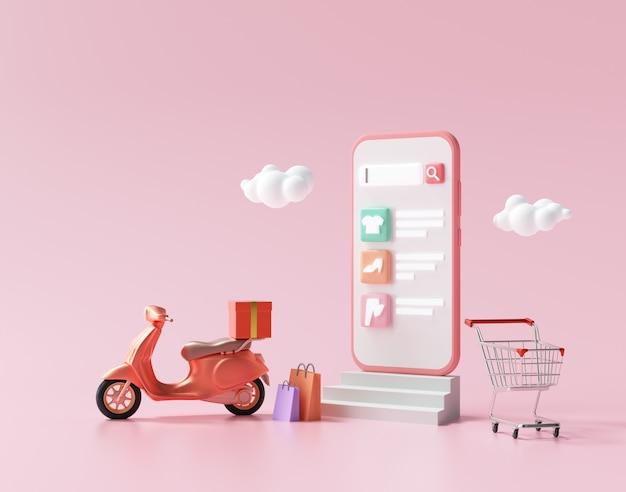 Compras on-line 3d no serviço de aplicativo para smartphone e entrega gratuita