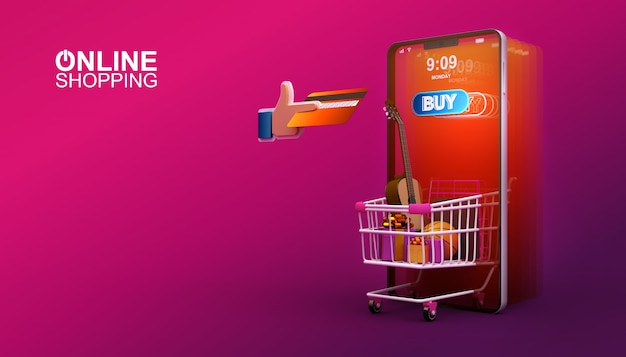 Compras on-line, aplicativo móvel, ilustração de renderização 3d