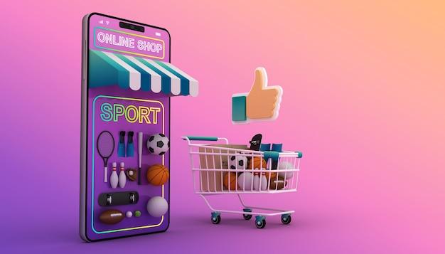 Compras on-line, aplicativo móvel, renderização em 3d