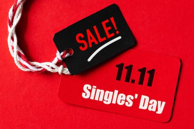 Compras on-line da china, 11,11 venda único dia. bilhete vermelho e preto 11,11 venda em um dia