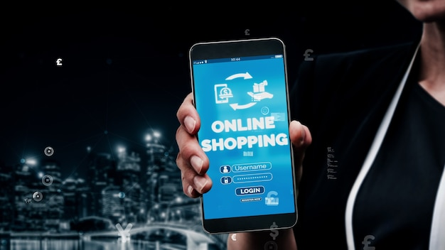 Compras on-line e conceito de tecnologia de dinheiro na internet