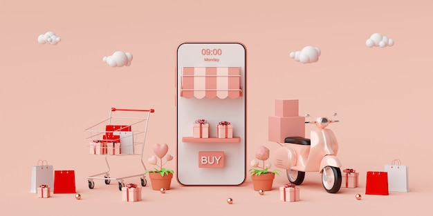 Compras on-line e serviço de entrega em aplicativo móvel