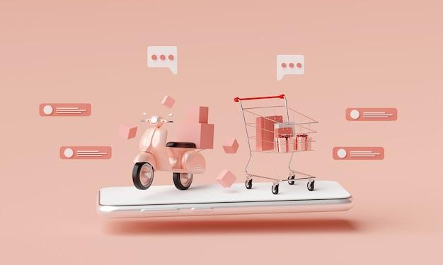 Compras on-line e serviço de entrega em renderização 3d de aplicativos móveis
