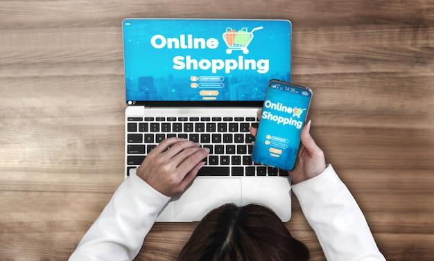 Compras on-line e tecnologia de dinheiro na internet