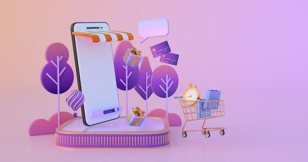 Compras on-line no site ou aplicativo móvel.