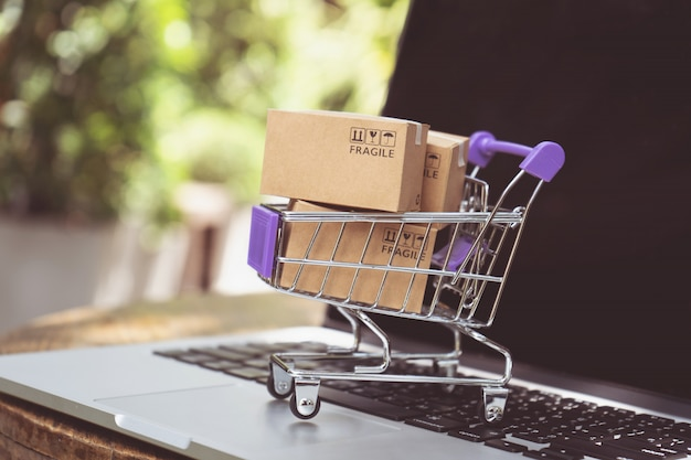 Compras on-line ou conceito de serviço de entrega de comércio eletrônico