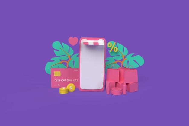 Compras on-line por telefone conceito ilustração renderização 3d de estilo de argila
