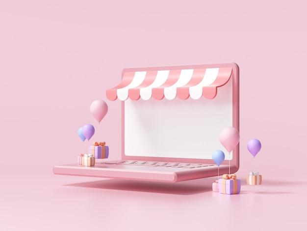 Compras online 3d no conceito de computador portátil. loja online, ilustração 3d render