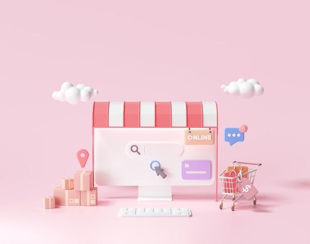 Compras online 3d no conceito de página da web. loja online, renderização 3d