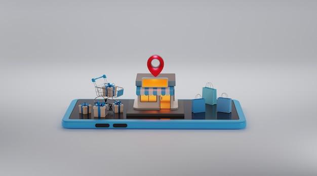 Compras online, aplicativo móvel, renderização 3d