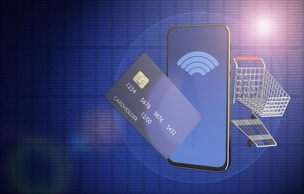 Compras online. compras online rápidas e convenientes. cesta de compras em um computador tablet ou smartphone. pagamento sem contato. renderizado 3d.