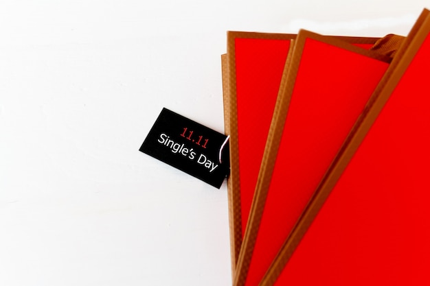 Compras online da china, 11,11 conceito de venda de dia único. o bilhete de volta 11.11 etiqueta de venda em um único dia.