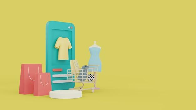 Compras online no site. compras online de aplicativos móveis. conceito de entrega. renderização 3d