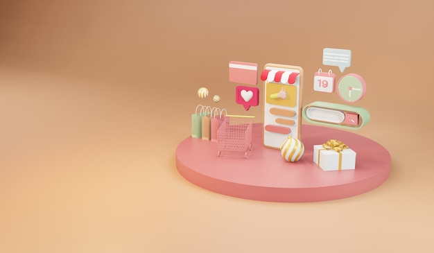 Compras online no smartphone. compras on-line e conceito de entrega, ilustração 3d