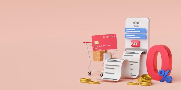 Compras online usando cartão de crédito no smartphone
