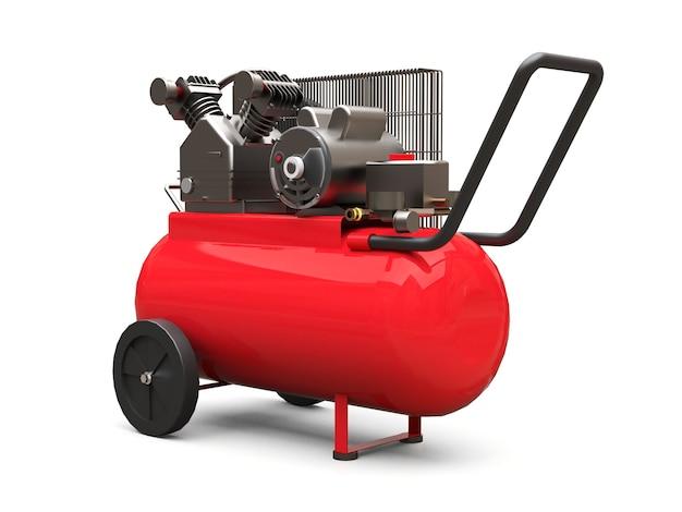 Compressor de ar horizontal vermelho isolado em uma superfície branca