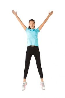 Comprimento total de mulher de fitness