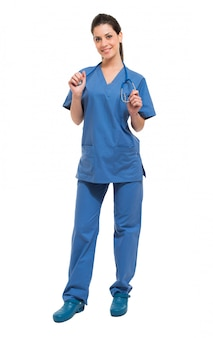 Comprimento total de retrato de enfermeira isolado no branco