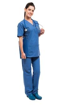 Comprimento total de retrato de enfermeira