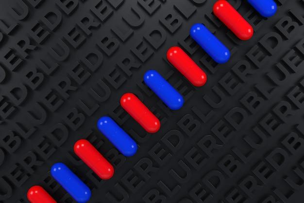 Comprimido azul e vermelho sobre fundo preto de cartas. ilustração 3d.