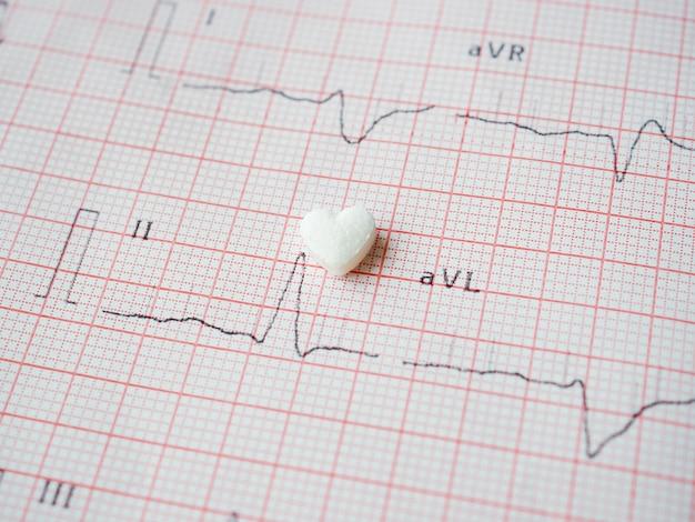 Comprimido branco em forma de coração com resultados de ecg em papel. comprimido cardiológico médico em forma de coração. a droga para restaurar a saúde. conceito médico e de saúde.