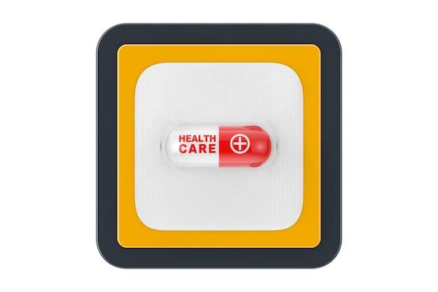 Comprimido cápsula de medicamento médico com placa de sinal de cuidados de saúde como botão de ícone da web de ponto de contato em um fundo branco. renderização 3d