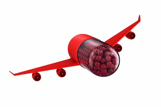 Comprimido com asas no espaço em branco. ilustração 3d isolada