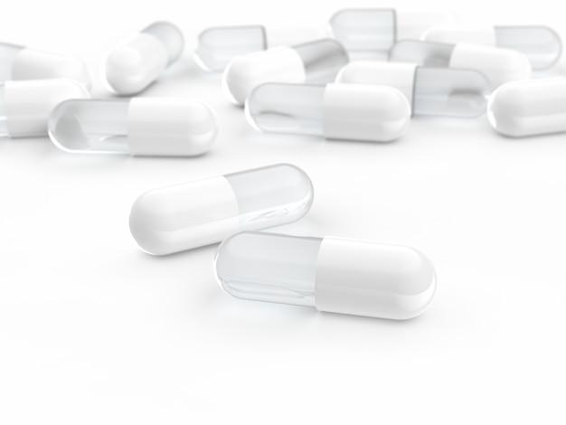 Comprimido da cápsula branca, medicina, medicina 3d render