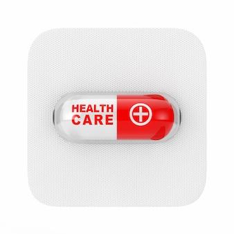 Comprimido da cápsula do medicamento médico com sinal de cuidados de saúde em bolha em um fundo branco. renderização 3d