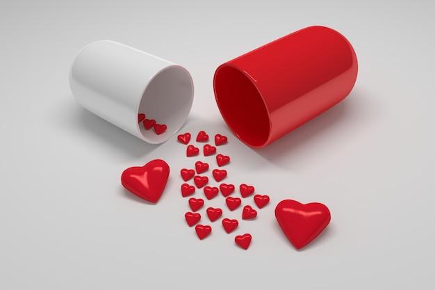 Comprimido da cápsula médica com corações.