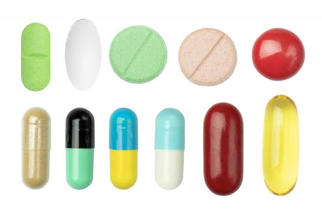 Comprimido de medicamento isolado branco