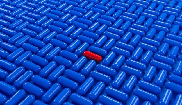 Comprimido vermelho em fundo de padrão geométrico de cápsulas de comprimidos de medicamentos azul. ilustração 3d