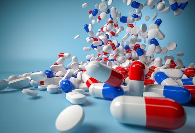 Comprimidos azuis e vermelhos caindo no azul. 3d render