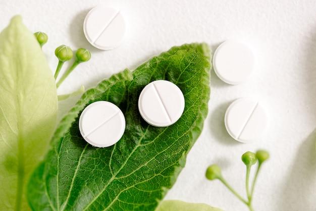 Comprimidos brancos em uma folha verde, conceito de medicina natural