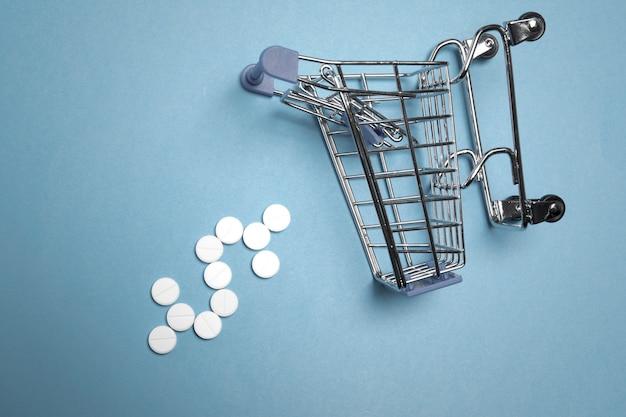 Comprimidos / carrinho de compras com sinal dollaron um fundo azul / close-up / conceito de cuidados de saúde, compras on-line, alto custo dos medicamentos / cópia espaço para texto