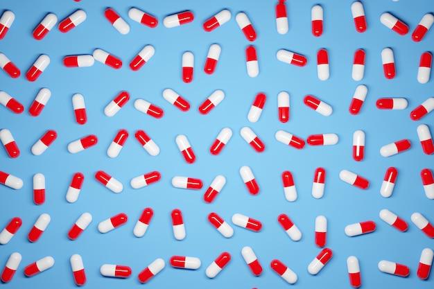 Comprimidos de cápsulas brancas e vermelhas com ilustração 3d