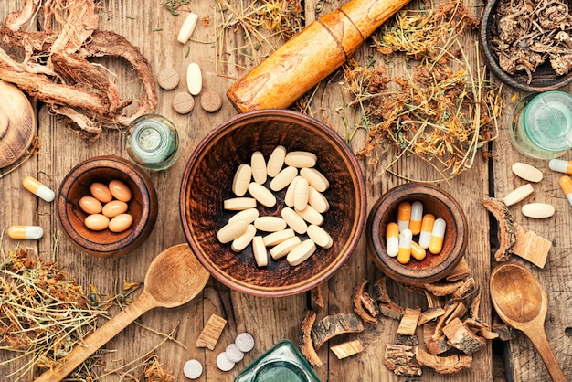 Comprimidos de ervas medicinais