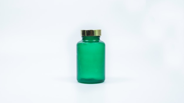 Comprimidos de garrafa no branco