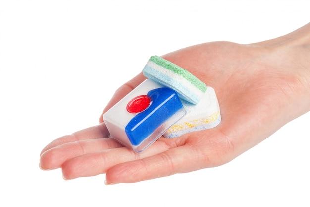 Comprimidos de máquina de lavar louça em branco
