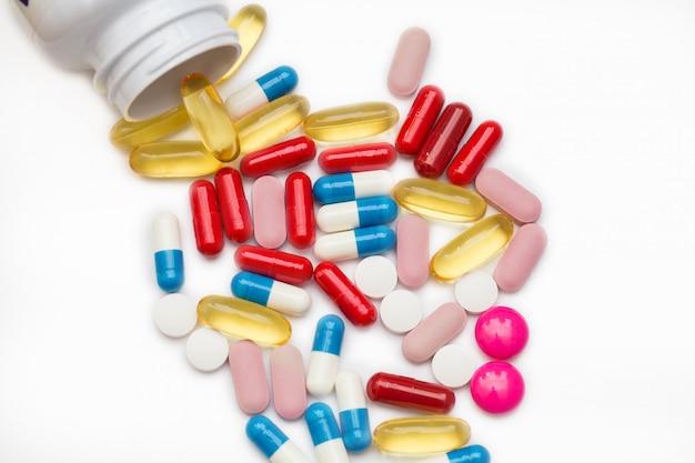 Comprimidos de medicamentos farmacêuticos, comprimidos e cápsulas e frasco